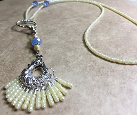 Ivory & Blue Stitch Marker Necklace Set , jewelry - Jill's Beaded Knit Bits, Jill's Beaded Knit Bits  - 6