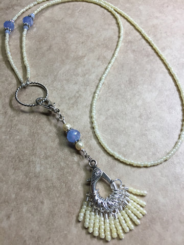 Ivory & Blue Stitch Marker Necklace Set , jewelry - Jill's Beaded Knit Bits, Jill's Beaded Knit Bits  - 5