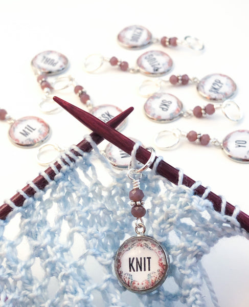 Amethyst beaded stitch marker for knitting and crochet snagless progress keeper knitting accesories and notions gift for knitter