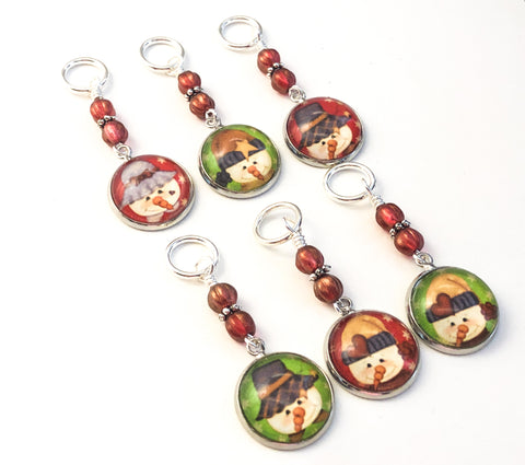 Country Snowman Stitch Markers for Knitting or Crochet Sets of 6-20