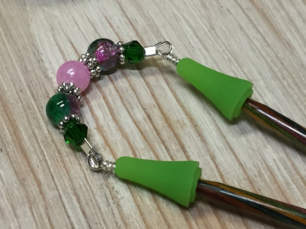Knitting Needle Point Protector Jewelry- Pink & Green , stitch holder - Jill's Beaded Knit Bits, Jill's Beaded Knit Bits  - 1