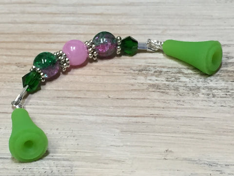 Knitting Needle Point Protector Jewelry- Pink & Green , stitch holder - Jill's Beaded Knit Bits, Jill's Beaded Knit Bits  - 4