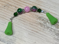 Knitting Needle Point Protector Jewelry- Pink & Green , stitch holder - Jill's Beaded Knit Bits, Jill's Beaded Knit Bits  - 2
