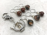 Snag Free Stitch Markers with Teapot Holder in Earth tones