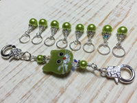 Lime Green Cat Knitting Lanyard , Stitch Markers - Jill's Beaded Knit Bits, Jill's Beaded Knit Bits  - 6