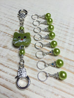 Lime Green Cat Knitting Lanyard , Stitch Markers - Jill's Beaded Knit Bits, Jill's Beaded Knit Bits  - 5