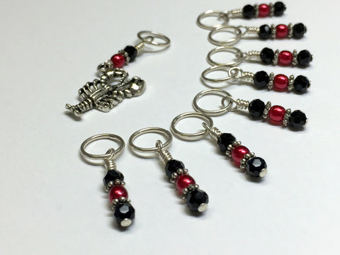 Lobster Stitch Marker Set for Knitting or Crochet , Stitch Markers - Jill's Beaded Knit Bits, Jill's Beaded Knit Bits  - 6