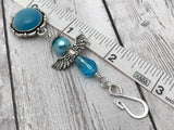 Blue Angel Portuguese Knitting Pin- Magnetic ID Badge Pin , Portugese Knitting Pin - Jill's Beaded Knit Bits, Jill's Beaded Knit Bits  - 3