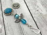 Blue Angel Portuguese Knitting Pin- Magnetic ID Badge Pin , Portugese Knitting Pin - Jill's Beaded Knit Bits, Jill's Beaded Knit Bits  - 5