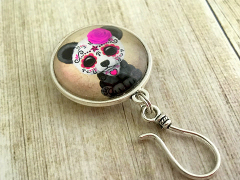 Magnetic Sugar Panda Knitting Pin for Portuguese Knitting- ID Badge Holder , Portugese Knitting Pin - Jill's Beaded Knit Bits, Jill's Beaded Knit Bits  - 6