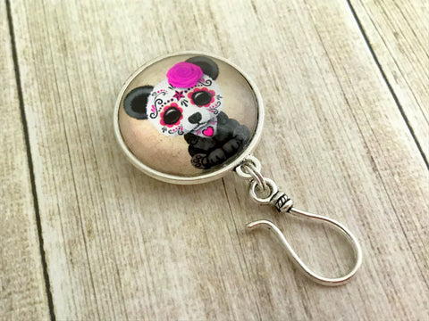 Magnetic Sugar Panda Knitting Pin for Portuguese Knitting- ID Badge Holder , Portugese Knitting Pin - Jill's Beaded Knit Bits, Jill's Beaded Knit Bits  - 5