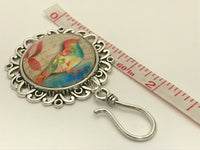 Fancy Bird Knitting Pin for Portuguese Knitting -Magnetic- ID Holder