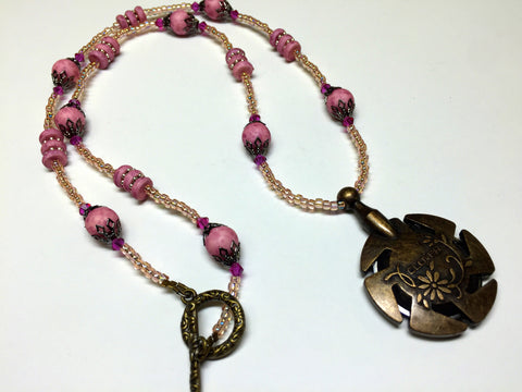 Beaded Yarn Cutter Necklace- Matte Pink , jewelry - Jill's Beaded Knit Bits, Jill's Beaded Knit Bits  - 3