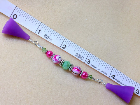 Beaded  Point Protector- Mint & Pink Stripes , stitch holder - Jill's Beaded Knit Bits, Jill's Beaded Knit Bits  - 6