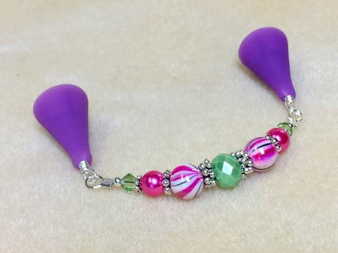 Beaded  Point Protector- Mint & Pink Stripes