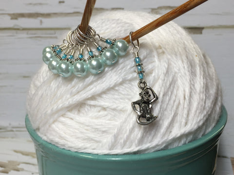 Monkey and Powder Blue Pearl Stitch Marker Set