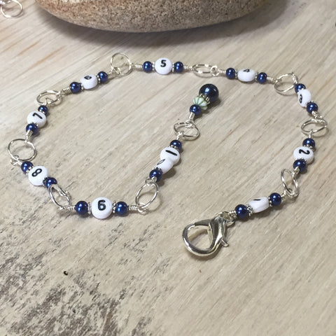 Navy Chain Style Row Counter , Stitch Markers - Jill's Beaded Knit Bits, Jill's Beaded Knit Bits  - 2