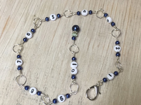 Navy Chain Style Row Counter , Stitch Markers - Jill's Beaded Knit Bits, Jill's Beaded Knit Bits  - 5