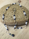 Navy Chain Style Row Counter , Stitch Markers - Jill's Beaded Knit Bits, Jill's Beaded Knit Bits  - 6