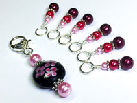 Beaded Stitch Marker Set with Holder - Ombre Pearls and Flowers