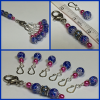 Cobalt Pink Removable Stitch Markers and  Holder , Stitch Markers - Jill's Beaded Knit Bits, Jill's Beaded Knit Bits  - 4