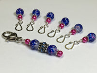 Cobalt Pink Removable Stitch Markers and  Holder , Stitch Markers - Jill's Beaded Knit Bits, Jill's Beaded Knit Bits  - 6