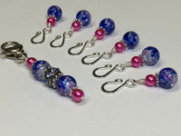 Cobalt Pink Removable Stitch Markers and  Holder , Stitch Markers - Jill's Beaded Knit Bits, Jill's Beaded Knit Bits  - 3