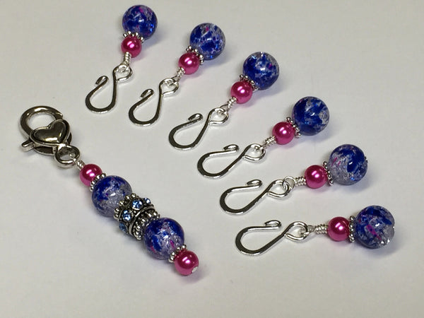 Cobalt Pink Removable Stitch Markers and  Holder , Stitch Markers - Jill's Beaded Knit Bits, Jill's Beaded Knit Bits  - 1
