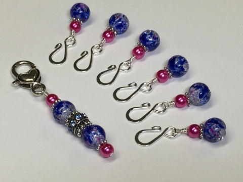 Cobalt Pink Removable Stitch Markers and  Holder