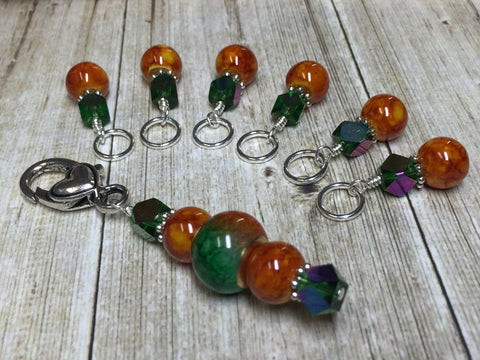 Orange & Green Ombre Stitch Marker Set with Clip Holder , Stitch Markers - Jill's Beaded Knit Bits, Jill's Beaded Knit Bits  - 1