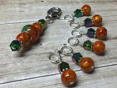 Orange & Green Ombre Stitch Marker Set with Clip Holder , Stitch Markers - Jill's Beaded Knit Bits, Jill's Beaded Knit Bits  - 2