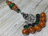 Orange & Green Ombre Stitch Marker Set with Clip Holder , Stitch Markers - Jill's Beaded Knit Bits, Jill's Beaded Knit Bits  - 3