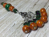 Orange & Green Ombre Stitch Marker Set with Clip Holder , Stitch Markers - Jill's Beaded Knit Bits, Jill's Beaded Knit Bits  - 4