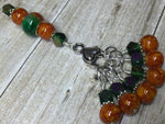 Orange & Green Ombre Stitch Marker Set with Clip Holder , Stitch Markers - Jill's Beaded Knit Bits, Jill's Beaded Knit Bits  - 6