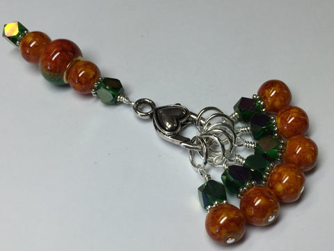 Orange & Green Ombre Stitch Marker Set with Clip Holder , Stitch Markers - Jill's Beaded Knit Bits, Jill's Beaded Knit Bits  - 7