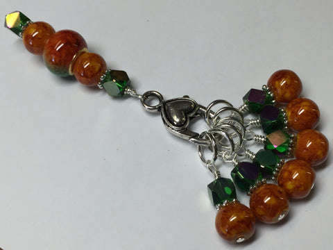 Orange & Green Ombre Stitch Marker Set with Clip Holder , Stitch Markers - Jill's Beaded Knit Bits, Jill's Beaded Knit Bits  - 8