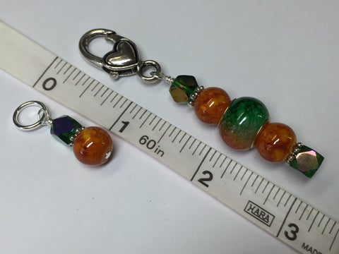 Orange & Green Ombre Stitch Marker Set with Clip Holder , Stitch Markers - Jill's Beaded Knit Bits, Jill's Beaded Knit Bits  - 5