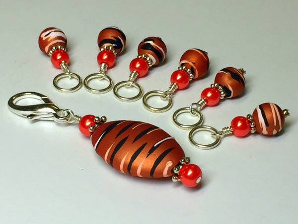 Orange Spice Stripes Stitch Marker Charm Holder Set , Stitch Markers - Jill's Beaded Knit Bits, Jill's Beaded Knit Bits  - 1