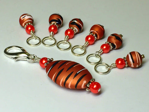 Orange Spice Stripes Stitch Marker Charm Holder Set