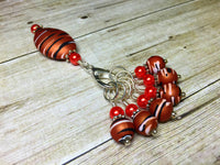 Orange Spice Stripes Stitch Marker Charm Holder Set , Stitch Markers - Jill's Beaded Knit Bits, Jill's Beaded Knit Bits  - 6