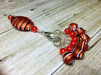 Orange Spice Stripes Stitch Marker Charm Holder Set , Stitch Markers - Jill's Beaded Knit Bits, Jill's Beaded Knit Bits  - 5