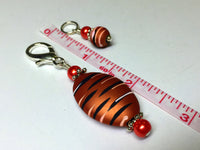 Orange Spice Stripes Stitch Marker Charm Holder Set , Stitch Markers - Jill's Beaded Knit Bits, Jill's Beaded Knit Bits  - 4