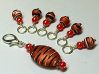 Orange Spice Stripes Stitch Marker Charm Holder Set , Stitch Markers - Jill's Beaded Knit Bits, Jill's Beaded Knit Bits  - 3
