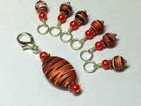 Orange Spice Stripes Stitch Marker Charm Holder Set , Stitch Markers - Jill's Beaded Knit Bits, Jill's Beaded Knit Bits  - 2