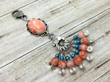 Orange Swirl Knitting Bag Lanyard & Stitch Markers , Stitch Markers - Jill's Beaded Knit Bits, Jill's Beaded Knit Bits  - 7