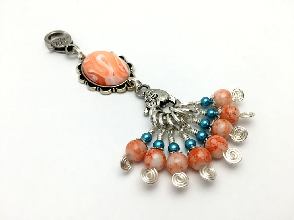 Orange Swirl Knitting Bag Lanyard & Stitch Markers , Stitch Markers - Jill's Beaded Knit Bits, Jill's Beaded Knit Bits  - 1