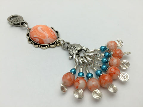 Orange Swirl Knitting Bag Lanyard & Stitch Markers , Stitch Markers - Jill's Beaded Knit Bits, Jill's Beaded Knit Bits  - 8