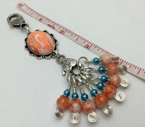 Orange Swirl Knitting Bag Lanyard & Stitch Markers , Stitch Markers - Jill's Beaded Knit Bits, Jill's Beaded Knit Bits  - 6