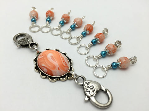 Orange Swirl Knitting Bag Lanyard & Stitch Markers , Stitch Markers - Jill's Beaded Knit Bits, Jill's Beaded Knit Bits  - 4