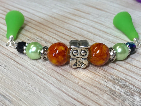 Owl Beaded Point Protector- Orange Stitch Holder , stitch holder - Jill's Beaded Knit Bits, Jill's Beaded Knit Bits  - 2